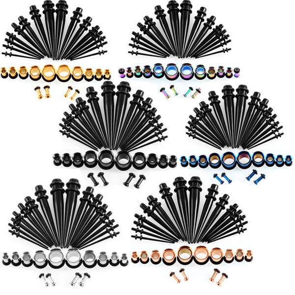 6 Colores 14G-00G 36 unids / set Calibradores Del Oído Kit de Estiramiento Tapones Tapones Anillos de Oído Único Llamarada Ear Plug Body Joyería Pendiente G77L