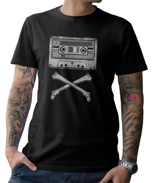 T-Shirt - Kassette - Skull Oldschool 90er Walkman 90's Retro Boombox Divertente spedizione gratuita Tee unisex