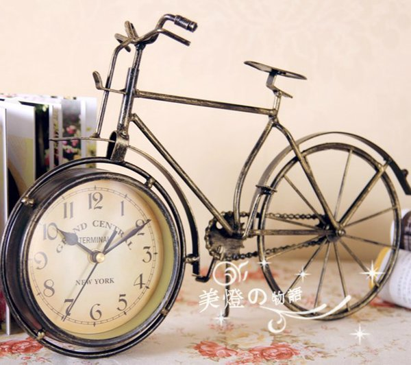Fashion iron decoration bicycle rustic vintage clock desk clock fashion classical mute wrought