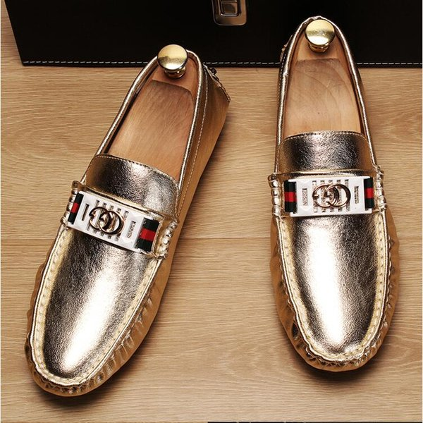 2018 New Style Soft Leather men leisure dress shoe part gift doug shoes Metal Buckle Slip-on Famous brand man lazy falts Loafers 238