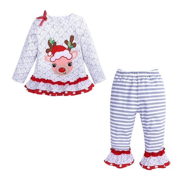 Sevimli Bebek Noel Kıyafet Geyik Tasarımcı Gömlek Modelleri ve Çizgili Ruffled Buttom Pantolon 2 Adet Pamuk Kız Bebek Giyim 18092902 ayarlar