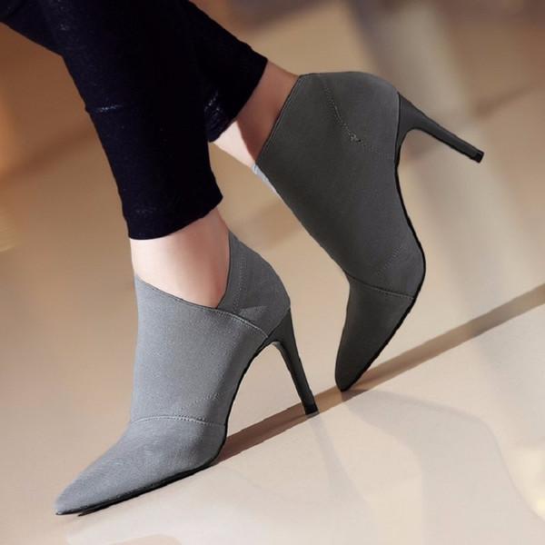 NEW дизайн Высокие каблуки женщин сапоги Основные обувь осень и зима Повседневная женщина ботильоны Одиночные Мода Верхняя одежда Обувь