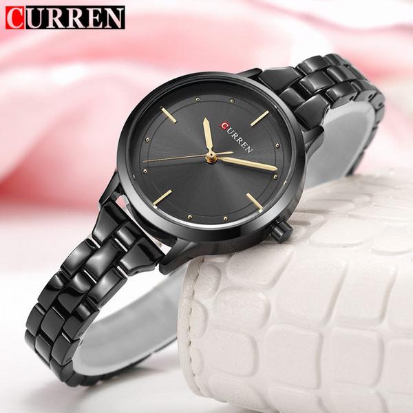 Curren Brand Luxury Black Stainless Steel Bracelet Style Women Quartz Watch Fashion Dress Ladies Watches Gifts Relogio Feminino
