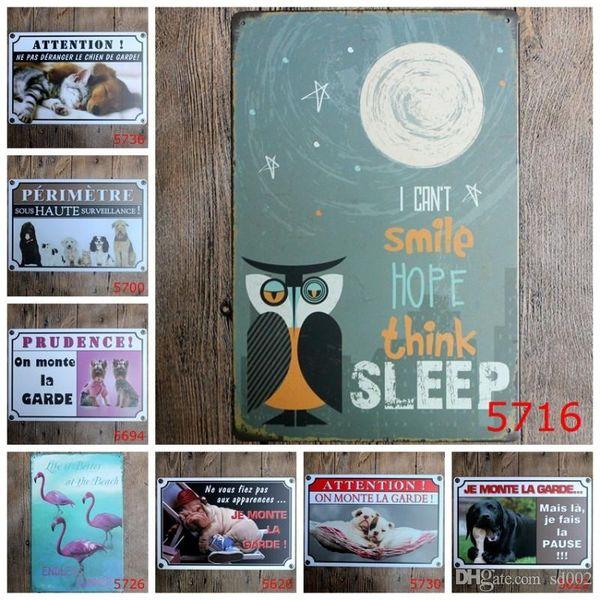 20 * 30 cm Pet Iron Paintings Retro Bar Décoration Flamingo Owl Tin Affiches Mignon Monkey Dogs Chat Tin Sign Creative 3 99ld dd