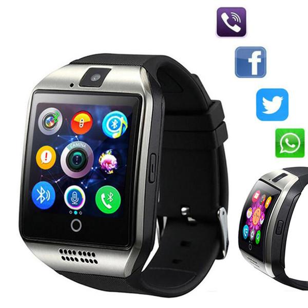 Q18 Smart Watch Bluetooth relojes inteligentes para teléfonos móviles con Android Soporte tarjeta SIM Card Answer Call con caja al por menor