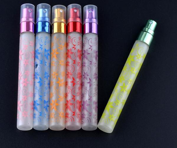 Portable Refillable Perfume Matte Bottle 10ml Flower Vine Glass Essential Oil Travel Spray Bottle Empty Perfume Bottles 6 Colors SN1513