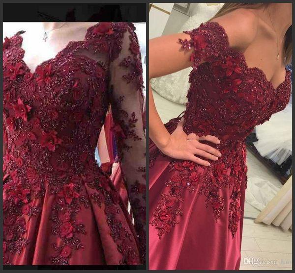 Prom Dresses 2018 Burgundy Formal Evening Wear Party Pageant Gowns Off Shoulder Arabic Lace Applique 3D Flowers Satin Beads Cheap Vintage