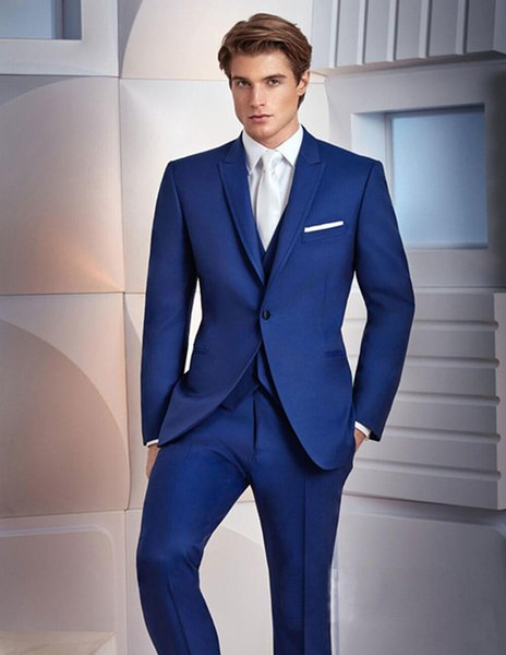 Três Peças Reais Azuis Ternos Dos Homens Para O Casamento Slim Fit Groomsmen Smoking Bonito Terno Do Casamento (Jacket + Pants + Vest)