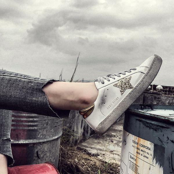 PU Schuhe Glitter Frauen Turnschuhe Alte Großhandel 2019 Frauen Stern Beiläufige Tun Flache Pailletten Goldene Leder Schmutzige Schuhe Beiläufige hrxdsCBtQ
