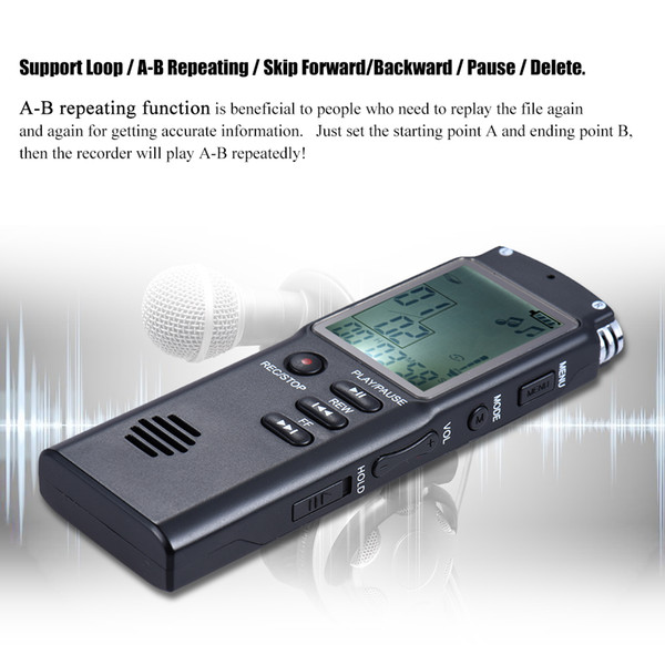 8GB 1536Kbps Audio Digital Voice Recorder MP3 Music Player Phone Call Recorder Dictaphone Voice Telephone Conversation Recording