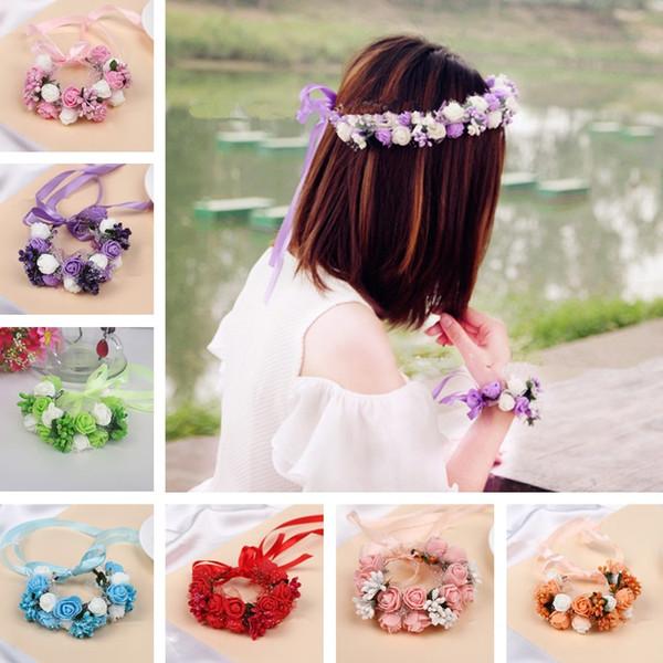 Corsage Romantische Kopfband Headwear Hochzeit Braut Handgelenk Band Brautjungfer Artifical Blumen Kranz Kranz Haarschmuck T6I057