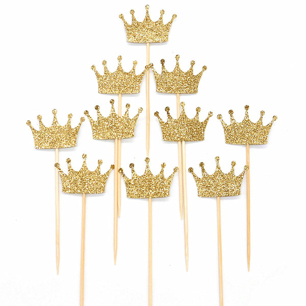 100 stücke Gold Glitter Papier Crown Kuchen Papier Topper Kit baby shower party hochzeit dekoration liefert