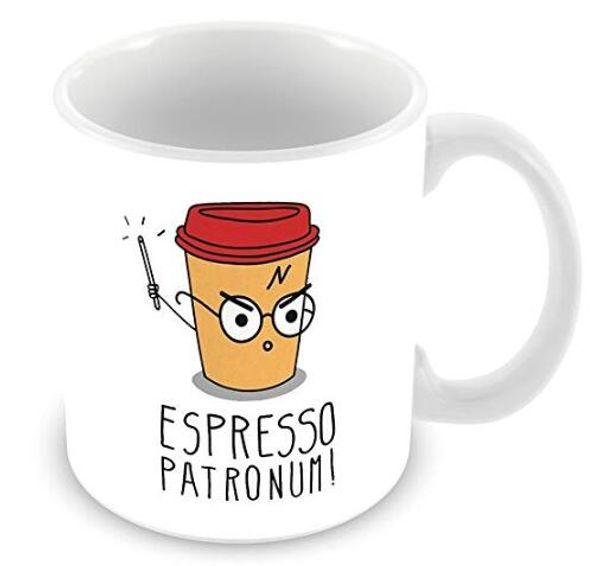 Espresso Patronum Harry Potter taza de dibujos animados divertidos taza dos lados 11 Oz cerámica