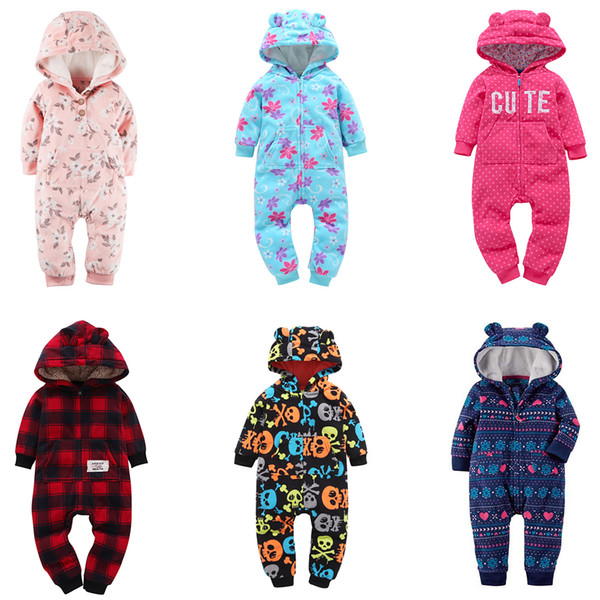 Newborn Baby Hooded Rompers Boy Girl Designer Clothes Jumpsuits Dinosaur Plaid Camouflage Dots Striped Santa Claus Elk Winter Christmas 3-24