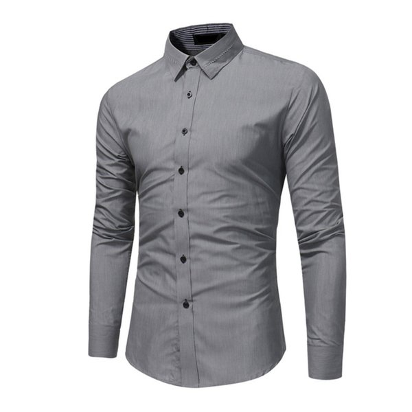 Business Formal Male Basic Dress Shirt Men Slim Fit Office Solid Color Brand Shirts Long Sleeve High Quality Clothes 2018 Homme