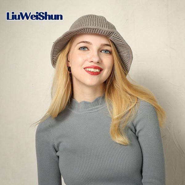 LIUWEISHUN 2017 Fashion Autumn/Winter Women Bucket Hats Girls Basin Caps Lady Solid Color Wool Female Crochet Knitted Beanies