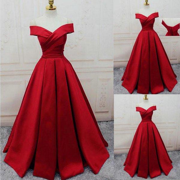 Compre 2018 Royal Red Ball Bata Vestidos De Fiesta Sexy Joya Vestidos Largos De Fiesta Vestidos De Noche Con Blusa Con Cuentas Brillante Para