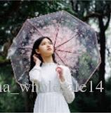 wholesale 1pc three Fold Umbrella Women Transparent Clear Cherry Blossom Mushroom Apollo Sakura folding Sunshade Rain Umbrella 2018AJI-796