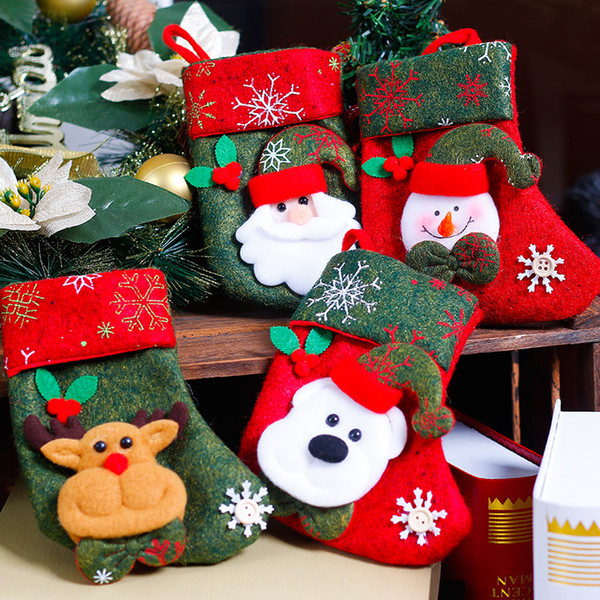 Christmas tree pendant Santa Claus Snowman Elk Socking Candy Pouch Bag Hanging Accessories for Navidad Home Restaurant Decor