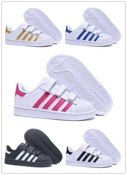 Adidas  Superstar dorp shipping 18 couleurs super star Mode fille garçon Big Kids chaussures Sneakers Casual Sport cuir