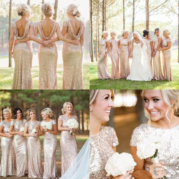 Sparkly Rose Gold Sequin Cheap 2018 Mermaid Bridesmaid Dresses Short Sleeve Sequins Backless Long Beach Wedding Party Gowns Gold Champagne