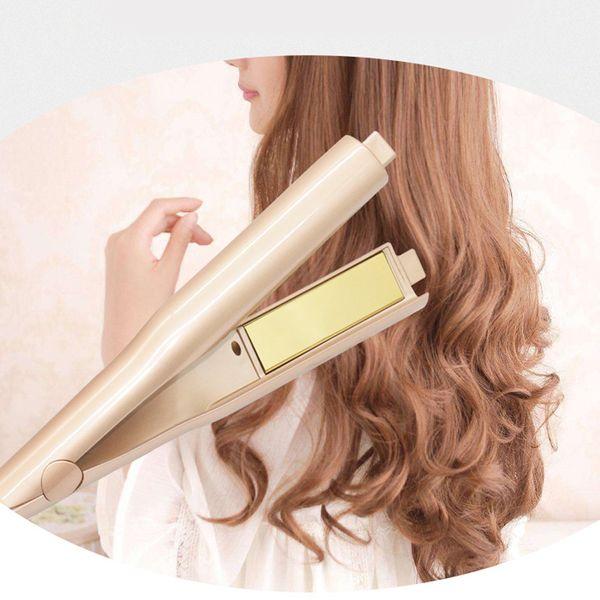 2 in 1 Hair curler Hair Straightener Titanium Gold Plate beauty Temperature control Hair Straightener curler US EU UK plug DHL shipping.