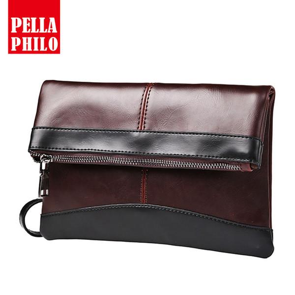 2018 New Fashion Great Cow Leather Men Clutch Bags Brown Patchwork Document Money Clip Mens Envelope Vintage Organizer Wallets