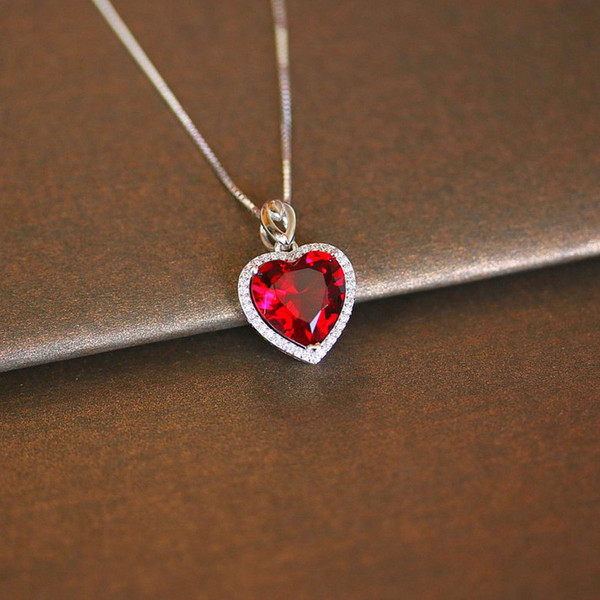 Heart Ruby Vintage Pendants S925 Sterling Silver Necklace Fine Jewelry Bridal Wedding Engagement Bijouterie No Chain S18101308