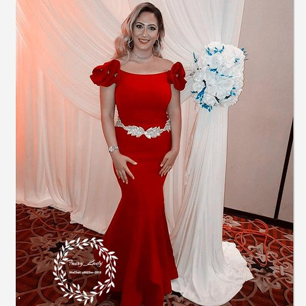 Elegant Women Red Formal Evening Dresses With Silver Beading Waist Scoop Neck 2018 Mermaid Long Prom Dress Party Gown Corset Back