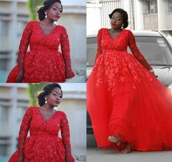 Plus size Red Prom Dresses With Long sleeves Sexy V Neck Lace Appliques Evening Dresses Tulle Floor Length Formal Party Gown