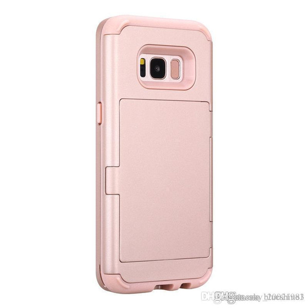 For Samsung Galaxy S8 Plus 3 in 1 Phone Case Hidden Mirror Credit Card Holder ID Card Slot Back Cover S8+ Hard Protective Sleeve