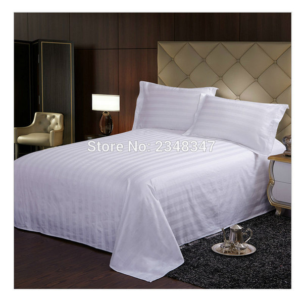 Quality White Cotton Hotel Home Satin Stripes Twin/Full/Queen/King Size Flat Sheet cases Shams Bed Bedspread Solid Color