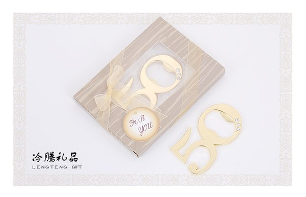100pcs/lot zinc alloy Gold digital 50 bottle opener wedding favors, birthday anniversary party giveaway gifts supplies
