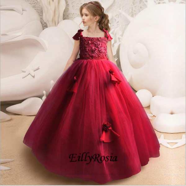 Red Ball Gown Little Girls Prom Dresses Appliques Floor Length Beading Beautiful Handmade Girls Pageant Dresses Kids Party Gowns 2018