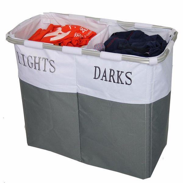 top popular Foldable Storage Laundry Hamper Washing Bag Holder Baskets Light And Dark Label Dirty Clothes Organizer Hamper Tool 2019