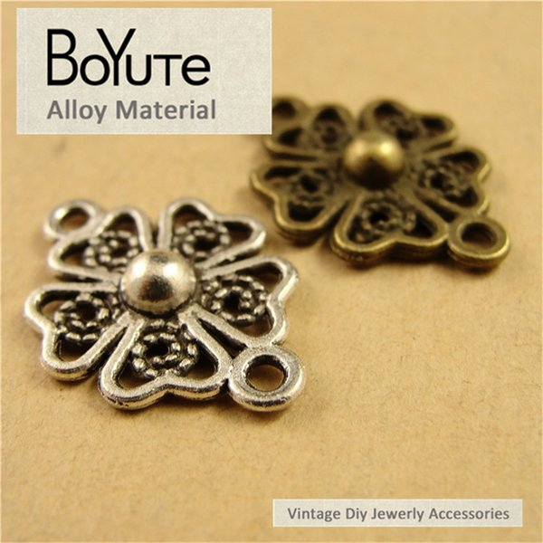 BoYuTe (100 Pieces/Lot) 21*16MM Antique Bronze Silver Plated Zinc Alloy Diy Hand Made Connectors Charms for Jewelry Findings Components