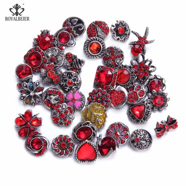 Royalbeier 12pcs/lot Mixed Colorful Rhinestone Metal Charms 12mm Snap Button Jewelry For DIY Snaps Bracelet Eearrings Jewelry