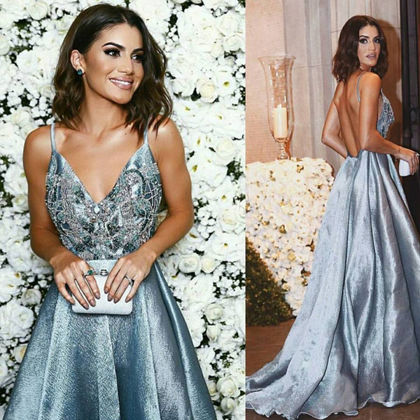 Blue Spaghetti V Neck Rhinestone Evening Wear Formal Dresses Holiday Backless Party Prom Gown Fitted Long Cheap Discount empire Sexy Berta