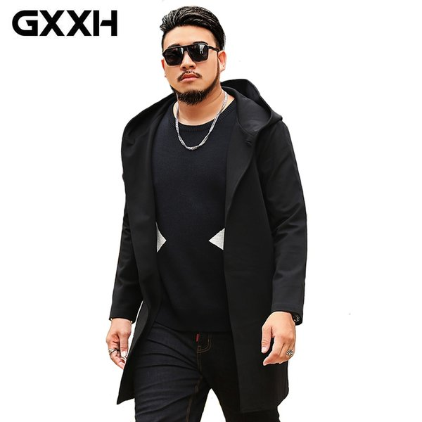 GXXH New 2018 Autumn Winter Men's Windbreakers Coats Male Trench Coat Black Hooded Parkas Plus Size Men 6XL 7XL Jackets Clothing