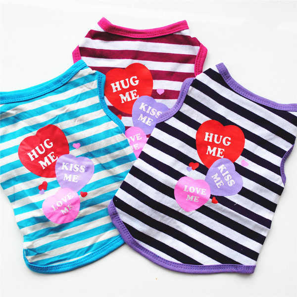 2018 Fashion Pet Clothing Summer Shirt Puppy kitten Pet Striped Vest T-shirt Casual Lovely and Breathable