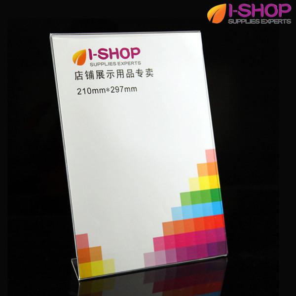 A4 L Shape Slanted Sign Holder Picture Frame Portrait Counter Display 210x297mm PL1-03