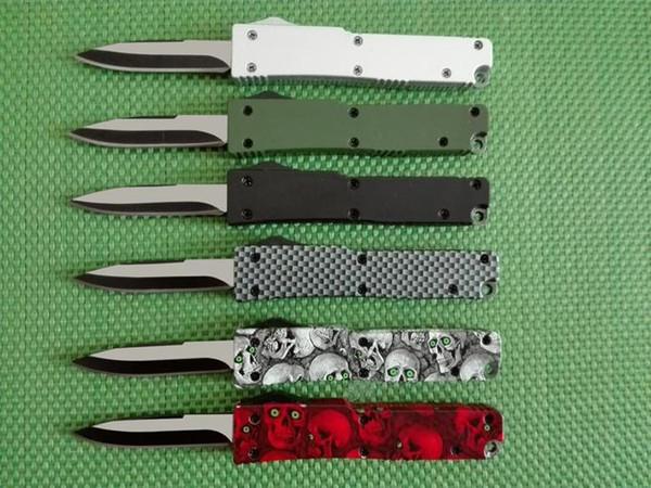 best selling wholesale mini Key buckle knife aluminum T6 green black carton fiber plate double action Folding Knives gift knife xmas knife Free shipp