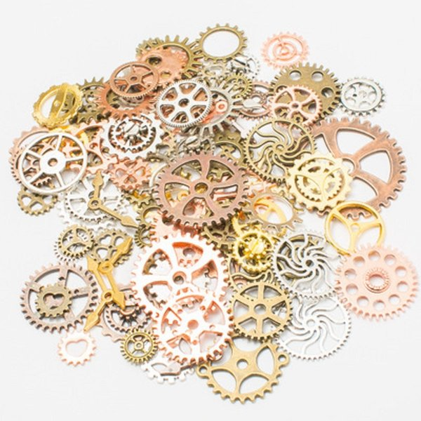 100g Mix Alloy Steampunk Gears DIY Jewelry Accessories Gears Cog Wheel Charms Pendant Fit Bracelet Accessories Diy Jewelry Making DHL FREE