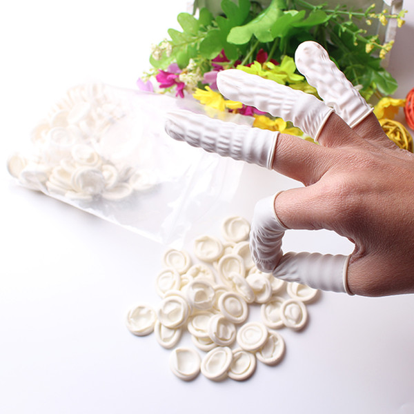 100Pcs White Eyebrow Gloves Disposable Latex Rubber Finger Cots Anti-static Protector Tip Cover Tattoo Nail Art Beauty Tool