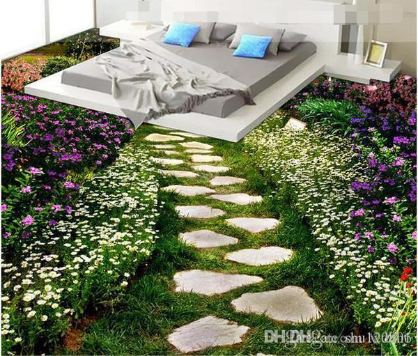 Pvc 3d suelo personalizado foto impermeable piso etiqueta de la pared Flores camino de fondo decoración de la habitación pintura murales de pared 3d wallpaper