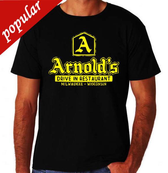 Arnolds Diner Clássico Feliz 80's EUA Programa de TV New Black Mens Dias Hambúrguer T-Shirt Nova Chegada Masculino Tees Ocasional T Camisa do Menino Topos