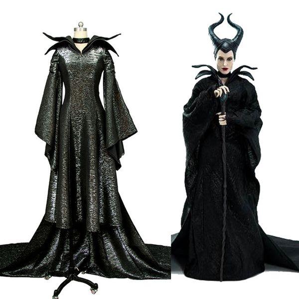 Movie Maleficent Angelina Jolie Cosplay Black Dress Costume Version B For Women Halloween Carnival Women Men Full Set Kid Halloween Costumes Moulin