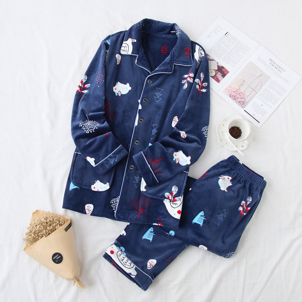 Autumn Winter Couple Pajama Sets Print Long Sleeve Casual Thickened Flannel Pyjamas for Women Men Two Piece Set Tops and Pants
