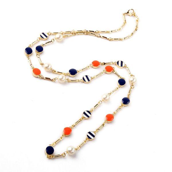 whole saleNew Design Classic Fashion Jewelry Shiny Round Enamel Imitation Pearl Pendant Long Sweater Chain Necklaces & Pendant 2016