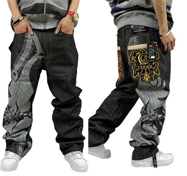 Wholesale- Good Quality 2015 New Fashion Men Hip Hop Baggy Jeans Short Men Mens Baggy Skateboard Boy Rap Jeans Black 32 34 36 38 40 42 44